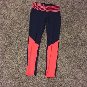 Navy and coral orange Lululemon tights